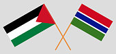 Crossed flags of Palestine and the Gambia. Official colors. Correct proportion. Vector illustration