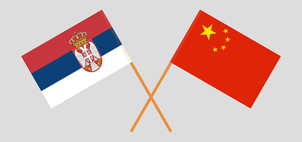 Crossed flags of Serbia and China