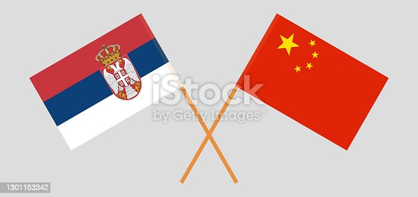 Crossed flags of Serbia and China. Official colors. Correct proportion. Vector illustration