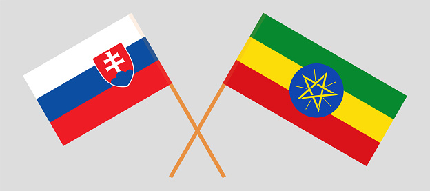 Crossed flags of Slovakia and Ethiopia. Official colors. Correct proportion