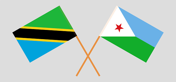 Crossed flags of Tanzania and Djibouti. Official colors. Correct proportion