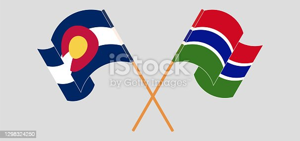 Crossed flags of The State of Colorado and the Gambia. Official colors. Correct proportion. Vector illustration