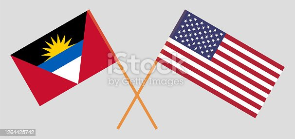 Crossed flags of the USA and Antigua and Barbuda. Official colors. Correct proportion. Vector illustration