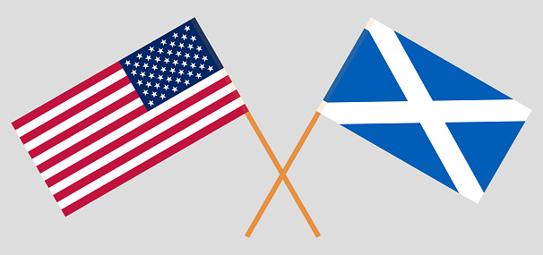 Crossed flags of the USA and Scotland