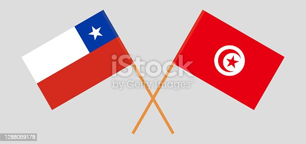 istock Crossed flags of Tunisia and Chile 1288059178