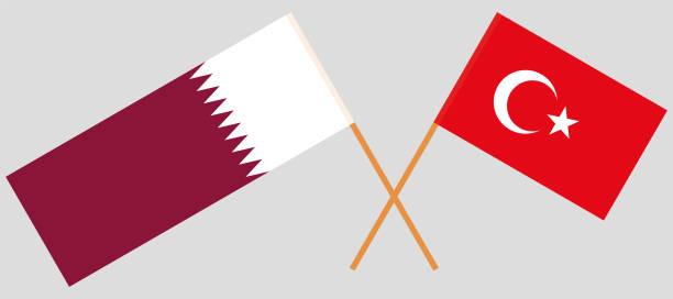 illustrations, cliparts, dessins animés et icônes de drapeaux croisés de la turquie et du qatar. couleurs officielles - doha