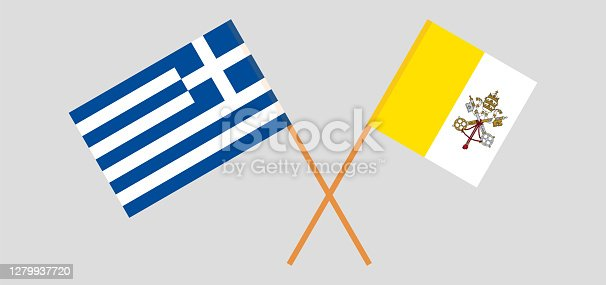 istock Crossed flags of Vatican and Greece 1279937720