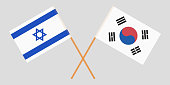 Crossed flags South Korea and Israel. Official colors. Correct proportion. Vector