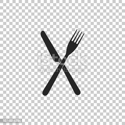 Crossed fork and knife icon isolated on white background. Restaurant icon. Set elements in colored icons. Flat design. Vector Illustration