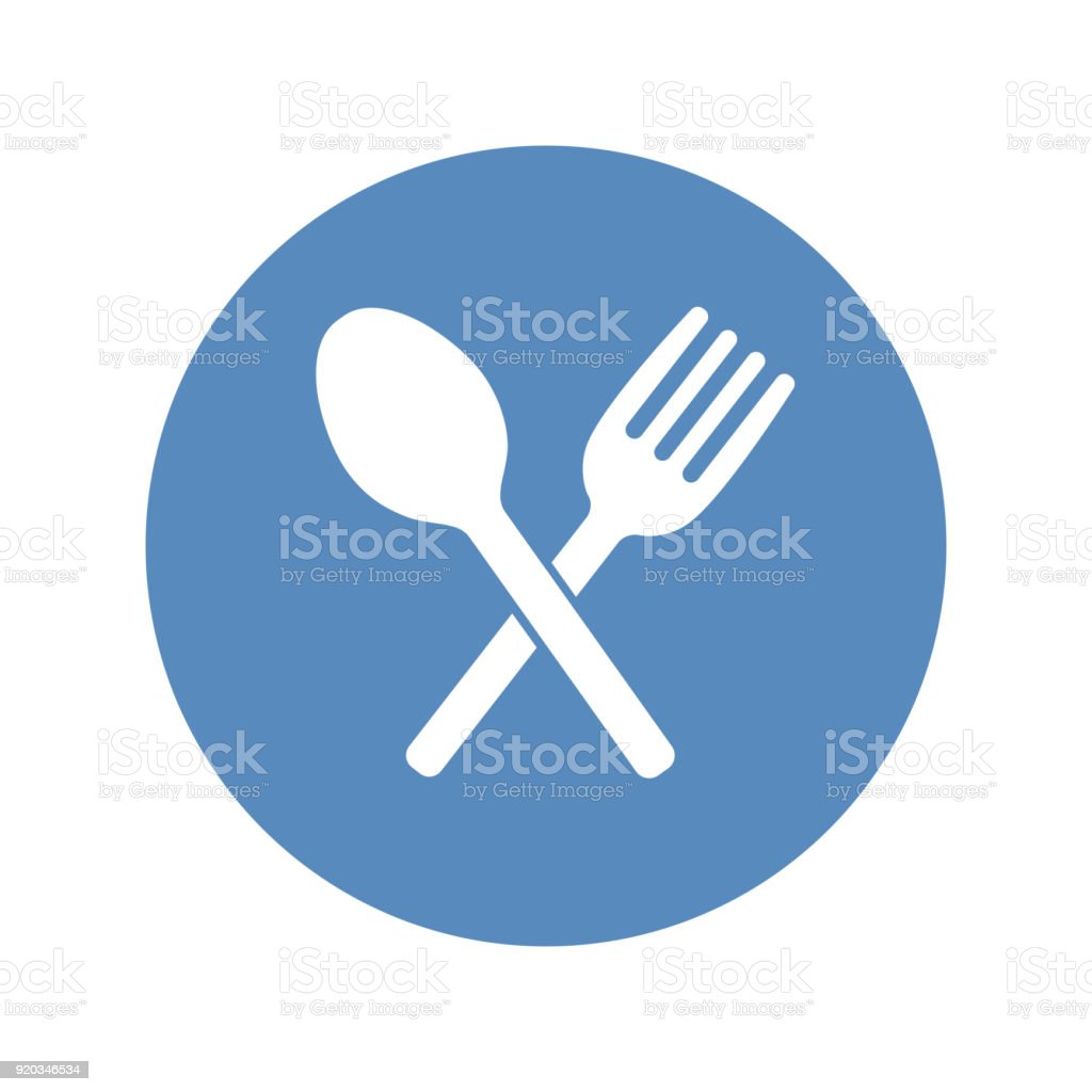 Crossed Fork And Spoon Icon Placed In A Blue Circle Restaurant Cafe