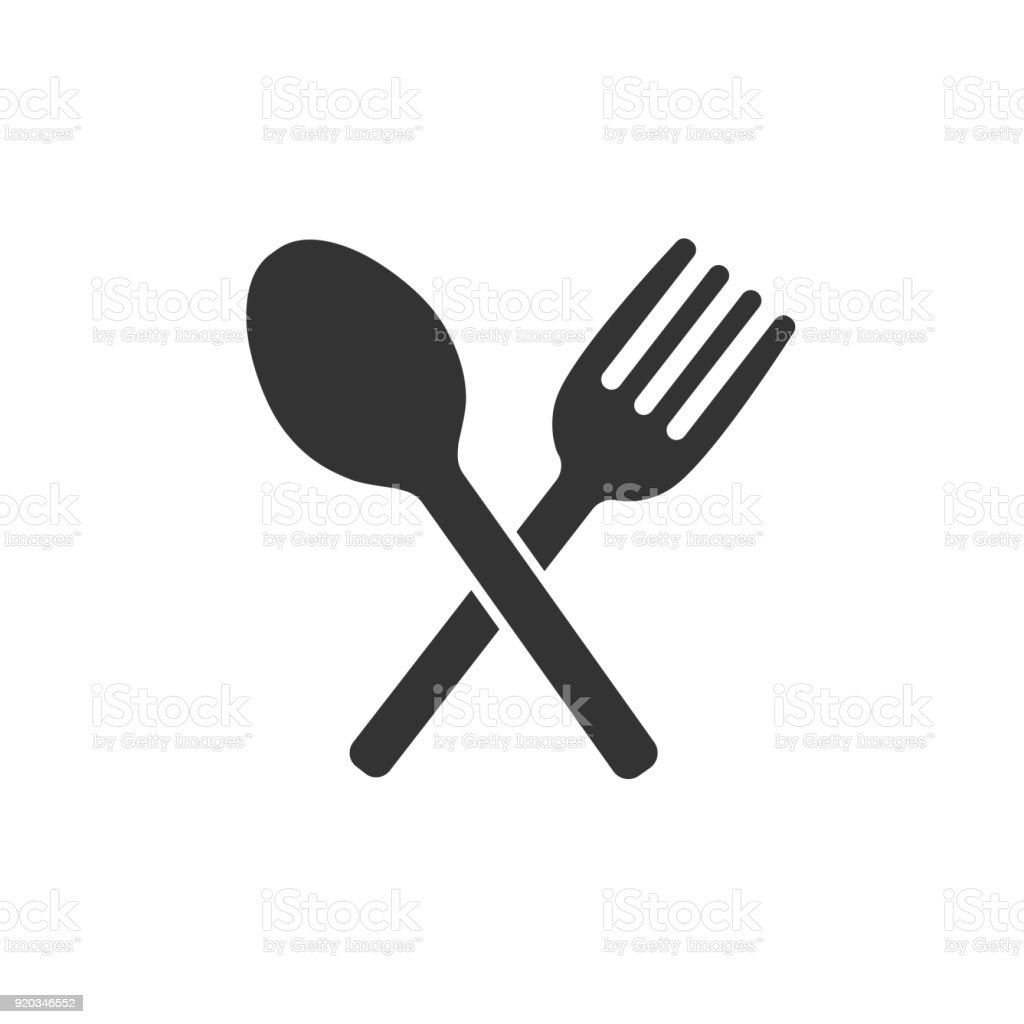 Crossed Fork And Spoon Icon Symbol Sign Placed On White Restaurant