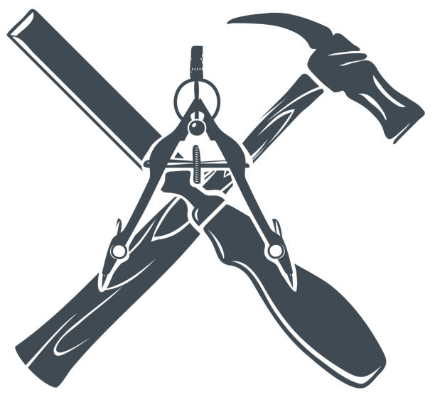 Royalty Free Silhouette Of Crossed Hammer Symbol Clip Art Vector