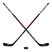 Crossed hockey sticks and puck, 3d vector illustration design