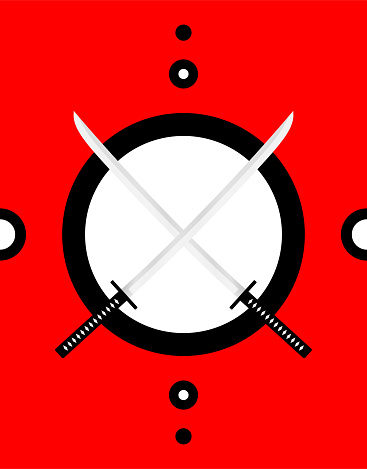 Crossed japanese swords. Vector design with two katanas.