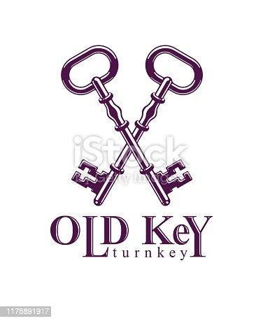 Crossed keys, vintage antique turnkeys vector emblem, protected secret, electronic data protection, keys to heaven, hotel label, keep secret.