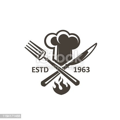 istock crossed knife, fork and chef hat 1194171455