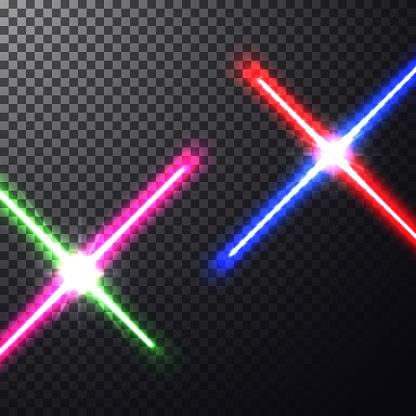 Crossed light swords