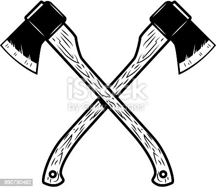 istock Crossed lumberjack axes isolated on white background. Design element for poster, emblem, sign, banner. Vector illustration 890790462