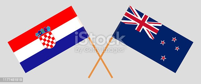 New Zealand and Croatia. Crossed New Zealand's and Croatian flags. Official colors. Correct proportion. Vector illustration
