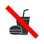 NO FOOD, NO DRINKS crossed out sign. Paper cup with tubule and hamburger icons. Vector.