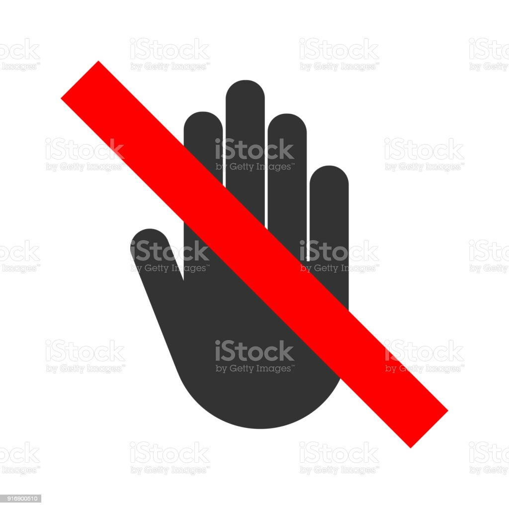 No Entry Crossed Out Sign Stop Hand Gesture Icon Vector Stock Vector