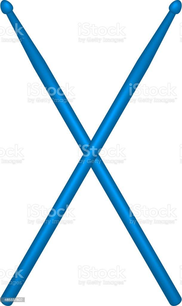 Croisés paire de bleu les manchons en bois - Illustration vectorielle