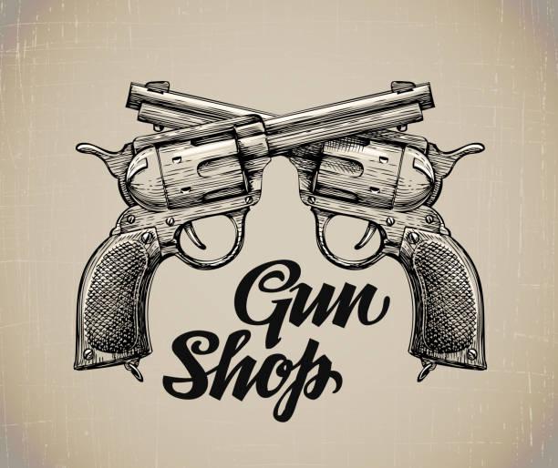 Crossed Pistols. Hand drawn sketch Gun. Vector illustration Crossed Pistols. Hand drawn sketch Gun. Vector illustration gun shop stock illustrations