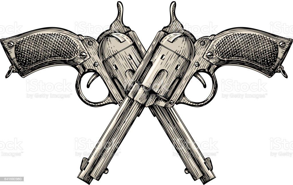 Crossed pistols. Vintage vector gun, pistol, handgun. Retro revolver vector art illustration