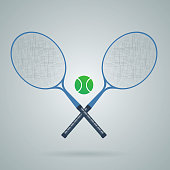 Crossed Racket And Tennis Ball. Vector illustration of tennis eps 10 vectorTennis racket flat design with shadow