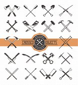 Vector set of crossed retro styled objects. Useful elements for emblems, badges or any other retro designs.