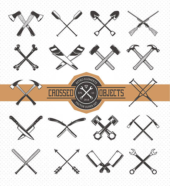 crossed retro objects - crossing stock illustrations, clip art, cartoons, & icons