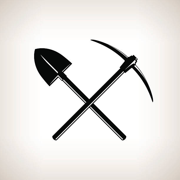 Crossed Shovel and Pickaxe Silhouette of a Crossed Shovel and Pickaxe on a Light Background,Hand Tool with a Hard Head Attached Perpendicular to the Handle ,a Tools for Excavation,Black and White Vector Illustration mattock stock illustrations
