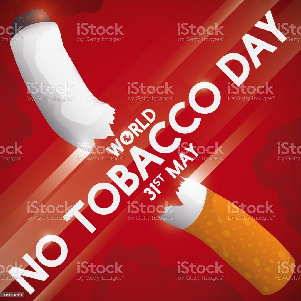 Crossed Sign Slicing a Cigarette for No Tobacco Day Celebration crossed sign slicing a cigarette for no tobacco day celebration - stockowe grafiki wektorowe i więcej obrazów cenzura royalty-free