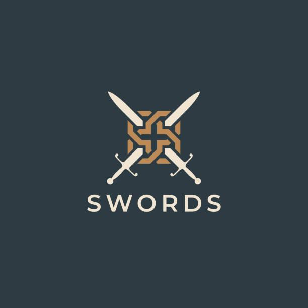 ilustraciones, imágenes clip art, dibujos animados e iconos de stock de icono de ilustración de espadas cruzadas. crestas de espada. diseño de heráldica vectorial. - vaina