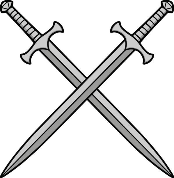 교차 칼 그림 - sword stock illustrations