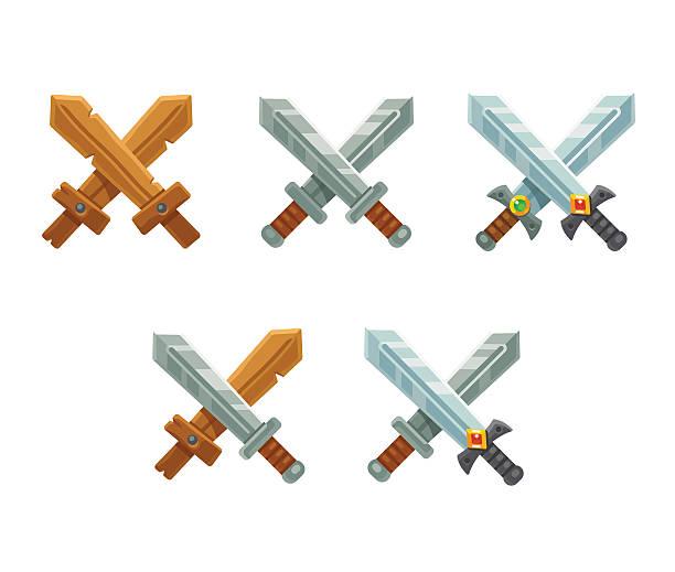 crossed swords set - sword stock illustrations