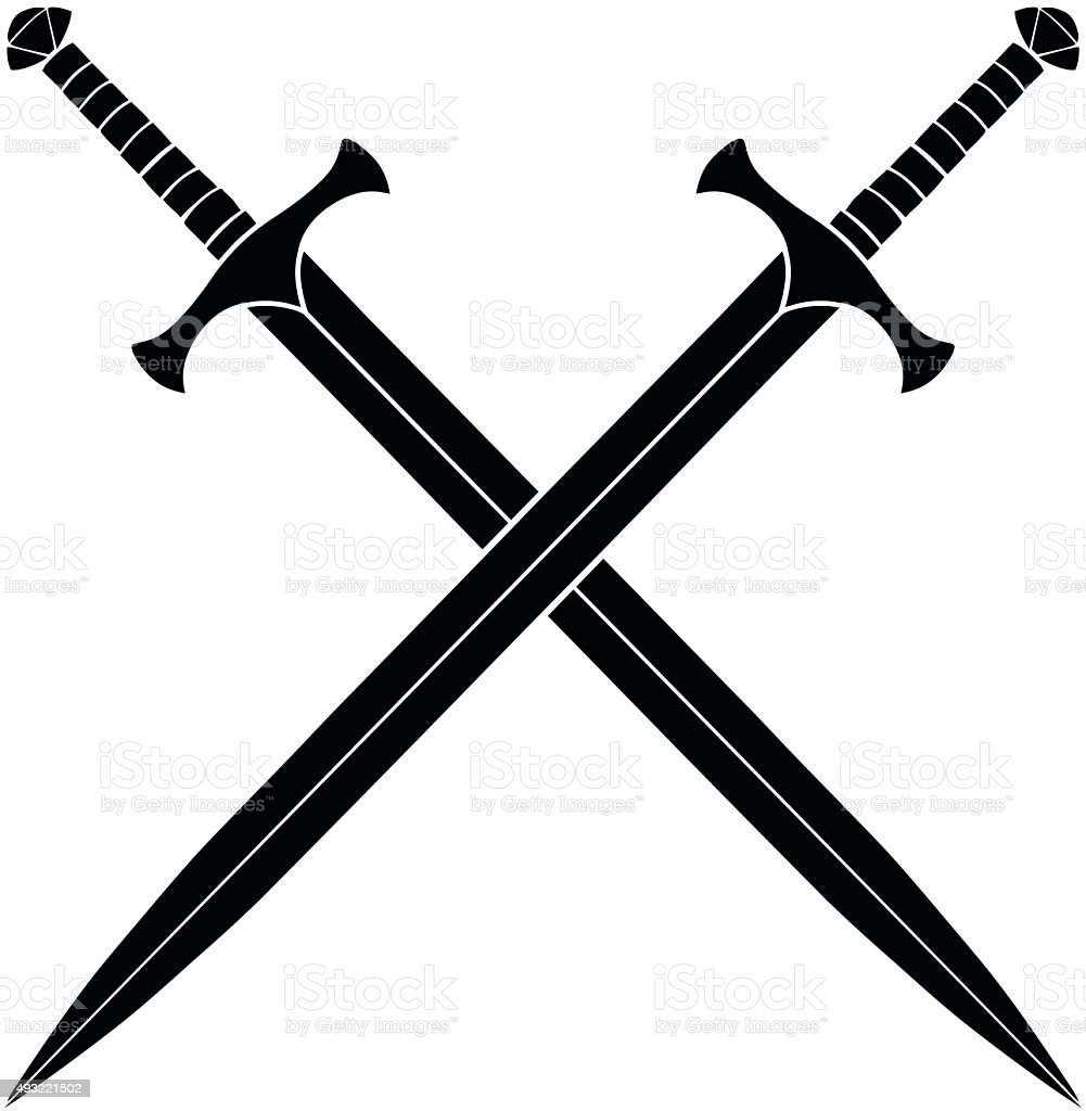 Crossed Swords Silhouette vector art illustration