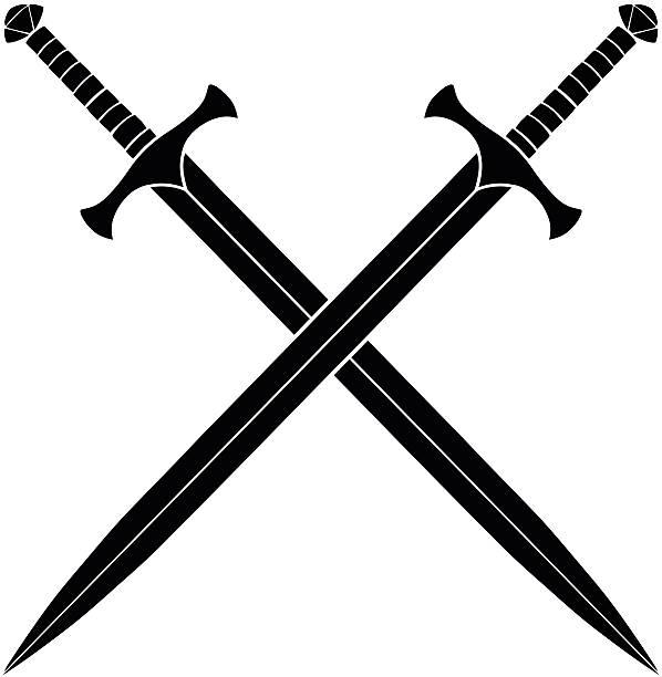 crossed swords silhouette - sword stock illustrations
