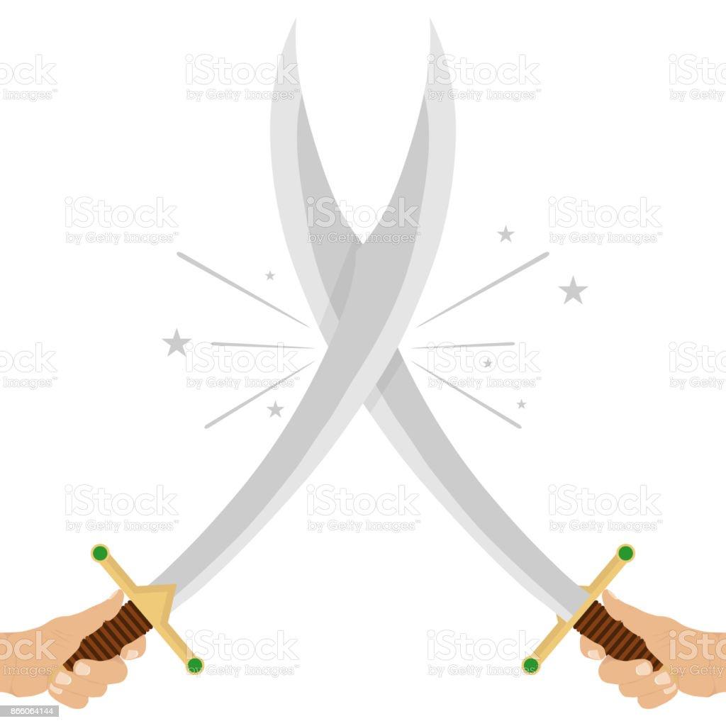 Crossed swords. The hand holds the sword. vector art illustration