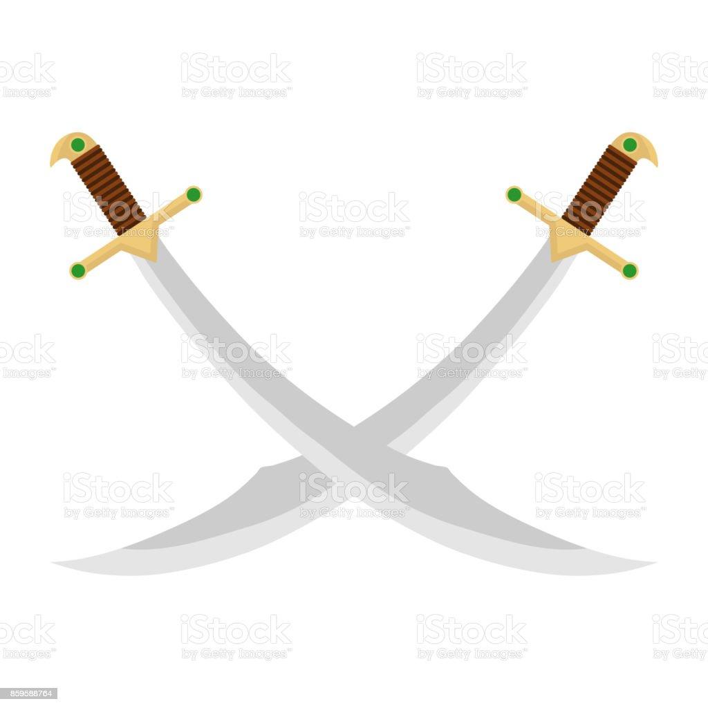Crossed Swords vector art illustration