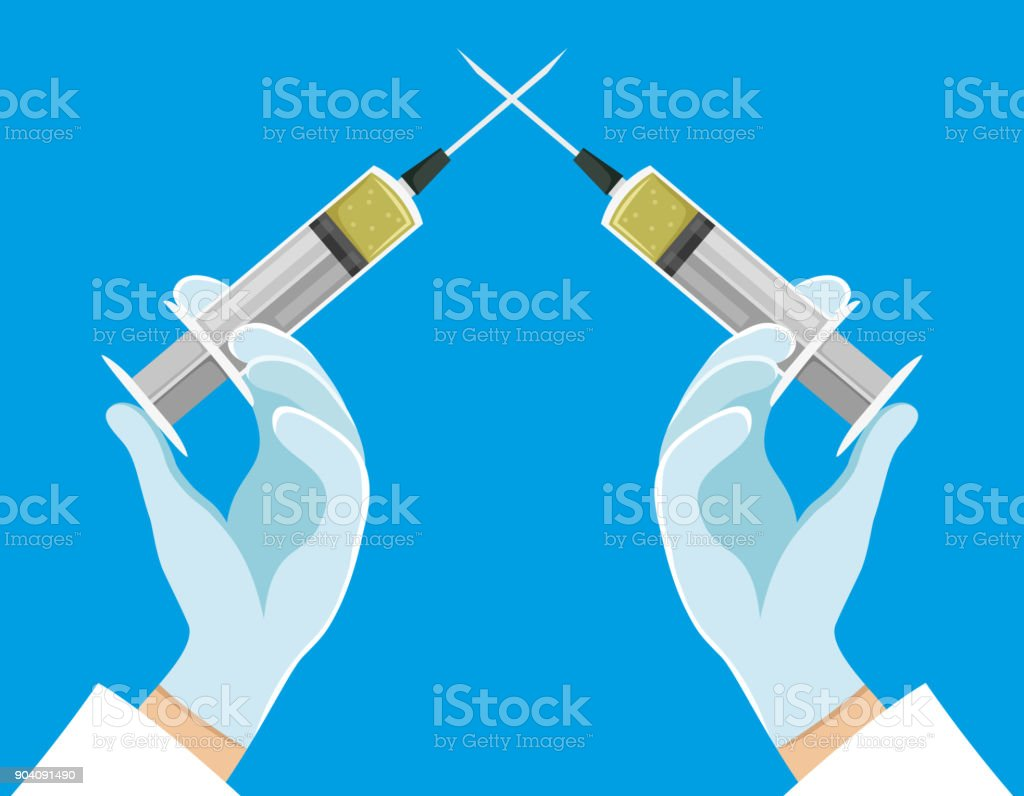 Crossed syringes in hands. vector art illustration