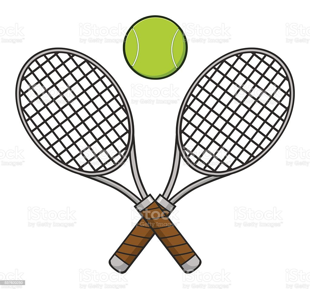crossed tennis ball and racket stock vector art more images of rh istockphoto com Tennis Racket Clip Art crossed tennis rackets logo