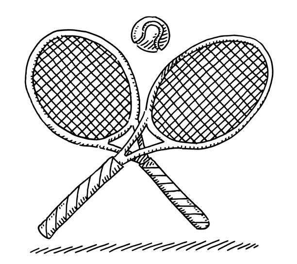 Crossed Tennis Rackets And Ball Symbol Drawing Hand-drawn vector drawing of a Crossed Tennis Rackets And Ball Symbol. Black-and-White sketch on a transparent background (.eps-file). Included files are EPS (v10) and Hi-Res JPG. tennis stock illustrations