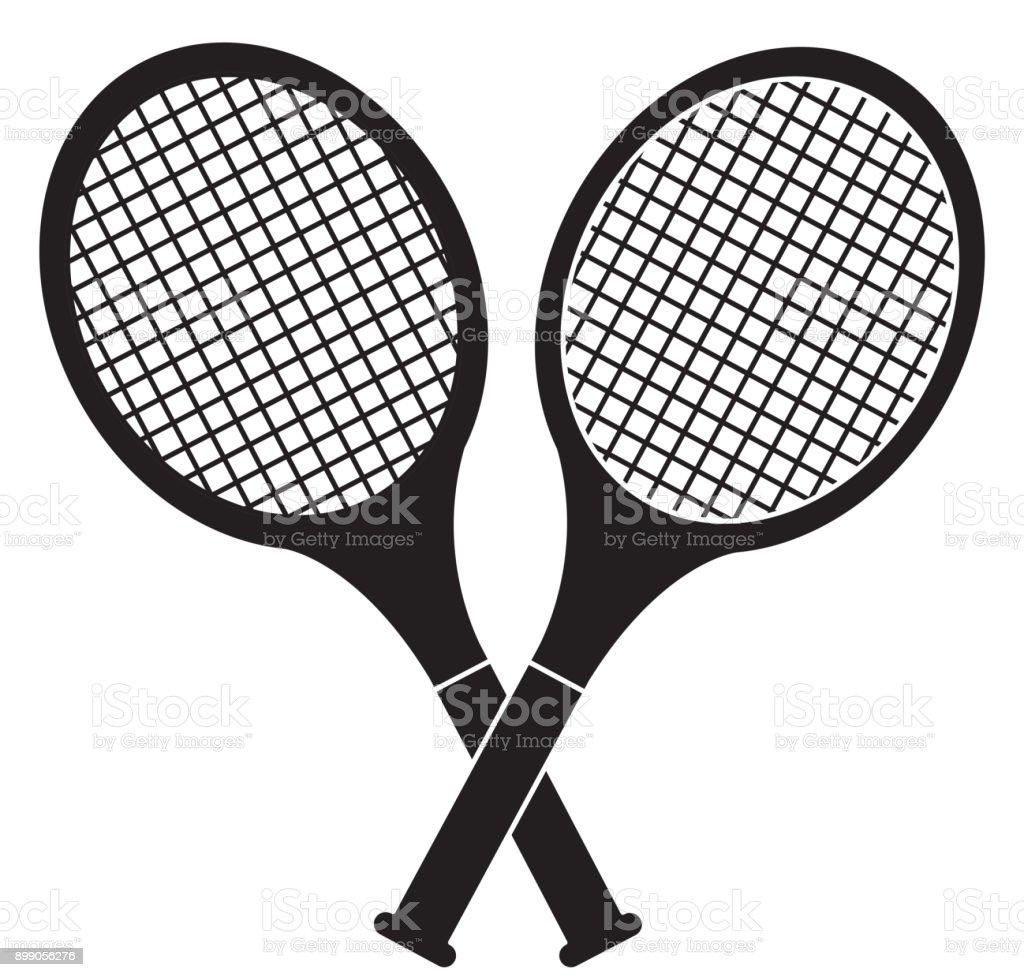 crossed tennis rackets in retro design stock vector art more rh istockphoto com Cartoon Tennis Raquet Template of a Large Tennis Racquet