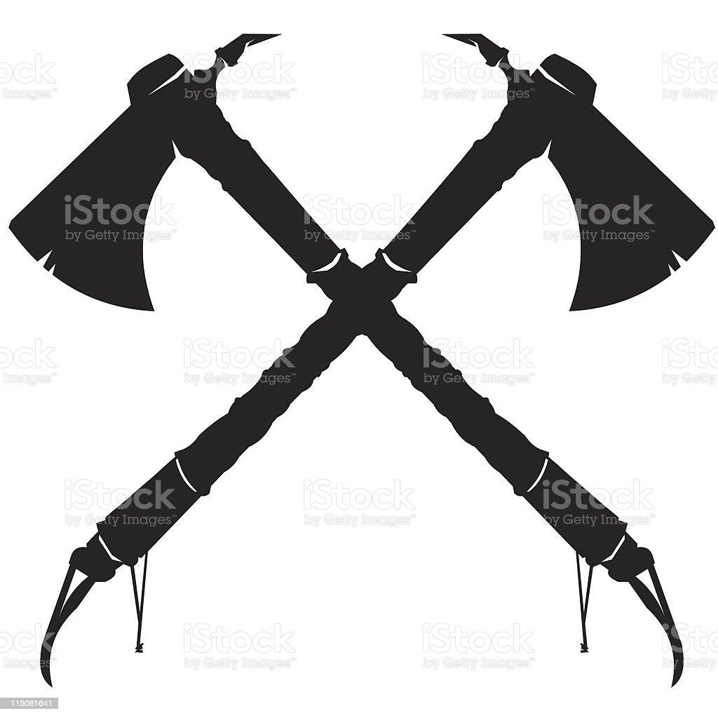 crossed tomahawk axes stock vector art more images of axe rh istockphoto com Tomahawk Drawing Tomahawk Logo Design