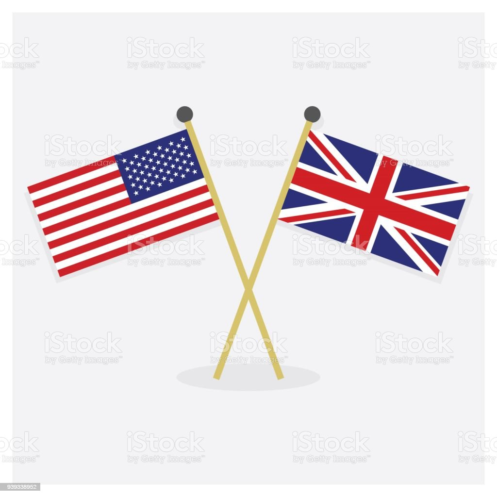 Crossed United States of America flag and Union Jack flag icons with shadow on off white background vector art illustration