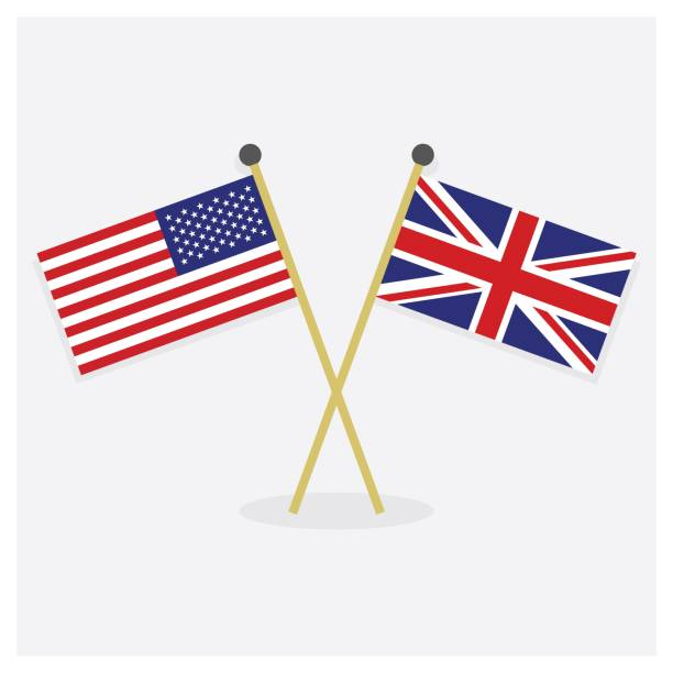 crossed united states of america flag and union jack flag icons with shadow on off white background - union jack flag stock illustrations, clip art, cartoons, & icons