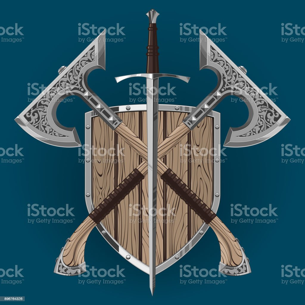 Crossed viking battle axes, shield and sword vector art illustration