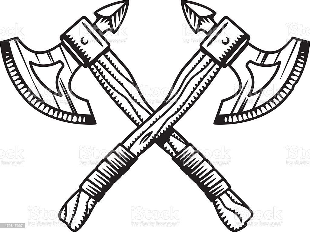 Crossed War Axes Stock Vector Art Amp More Images Of Axe