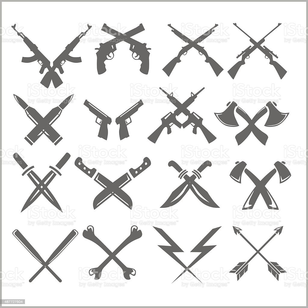 Crossed Weapons Vector Collection in white background vector art illustration